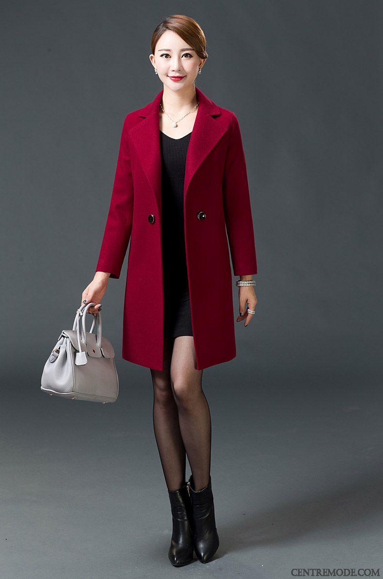 Manteaux Femme Longue Grande Taille Légère Coupe Vent L'automne Printemps Rouge Pas Cher