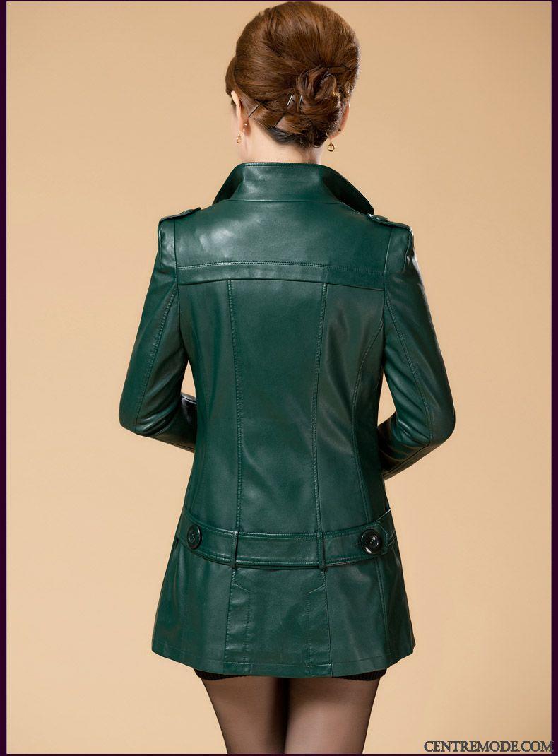 Veste imitation cuir marron femme