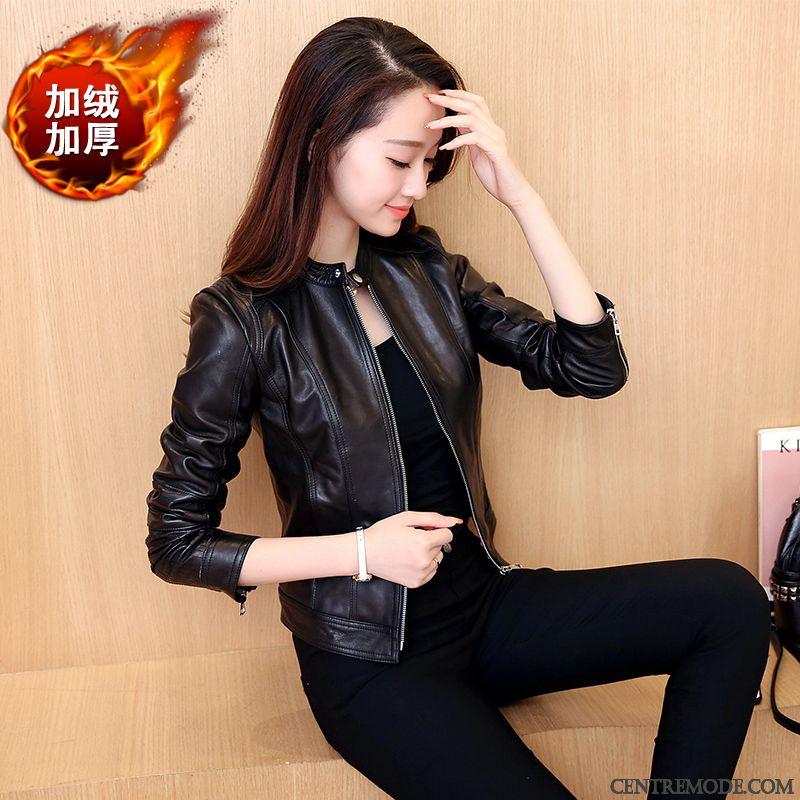 Veste cuir bordeaux pour femme
