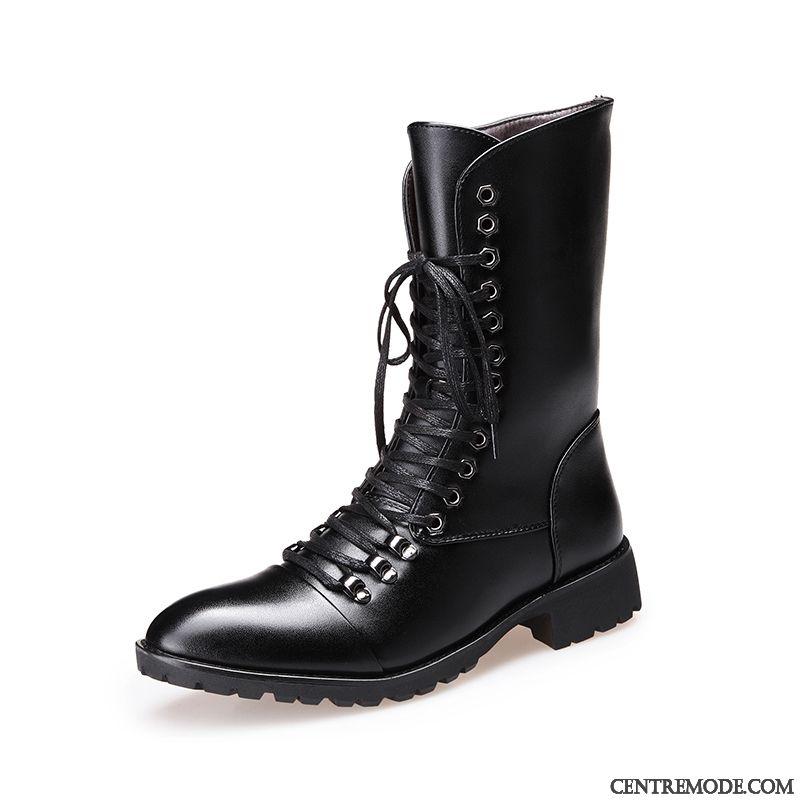 chaussure botte cuir noir haute homme