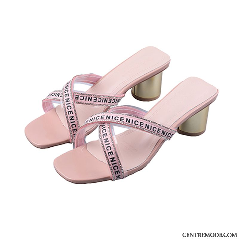 Chaussons Femme Imitation Strass Tous Les Assortis Outwear Mode Tongs Chaussons Épais Rose