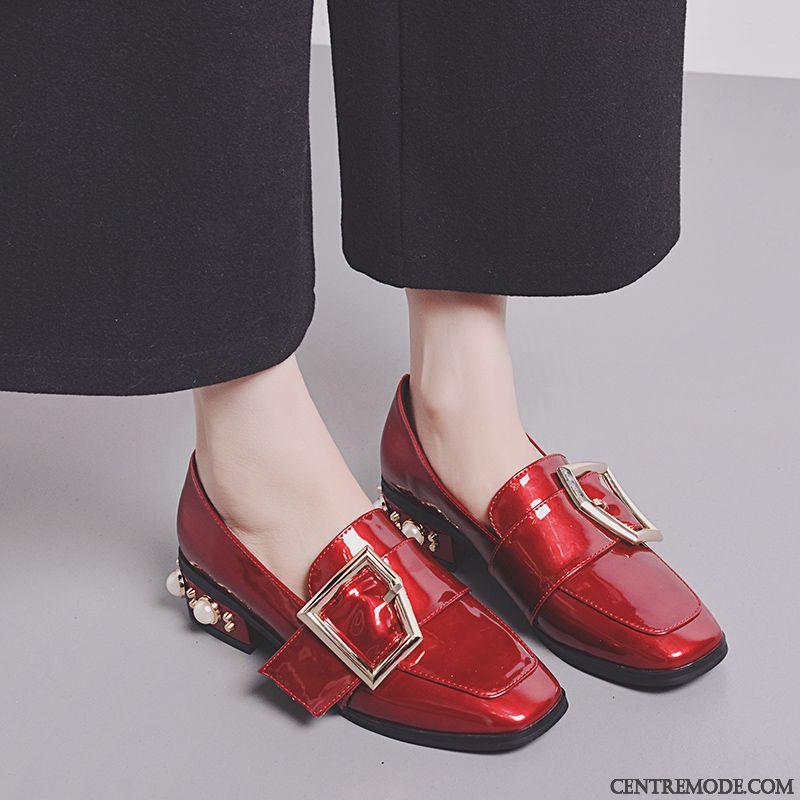 Derbies Rouge Femme Gris Ardoise Saumon, Chaussure Femme