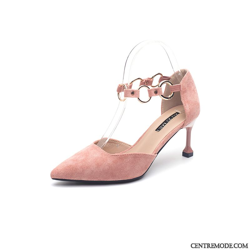 Escarpins Femme Pointe Pointue Minces Mode Fille Derbies Étudiant Rose