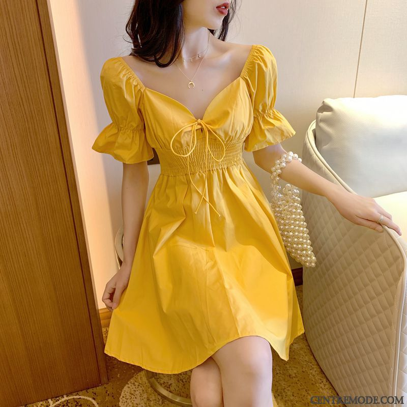 Robes Femme Tempérament Chemisier Printemps Manche Bulle Ultra Jaune