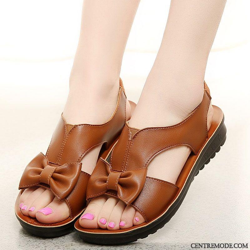 Sandales Chaussures Femme, Sandales Femme Soldes Crème Blanc