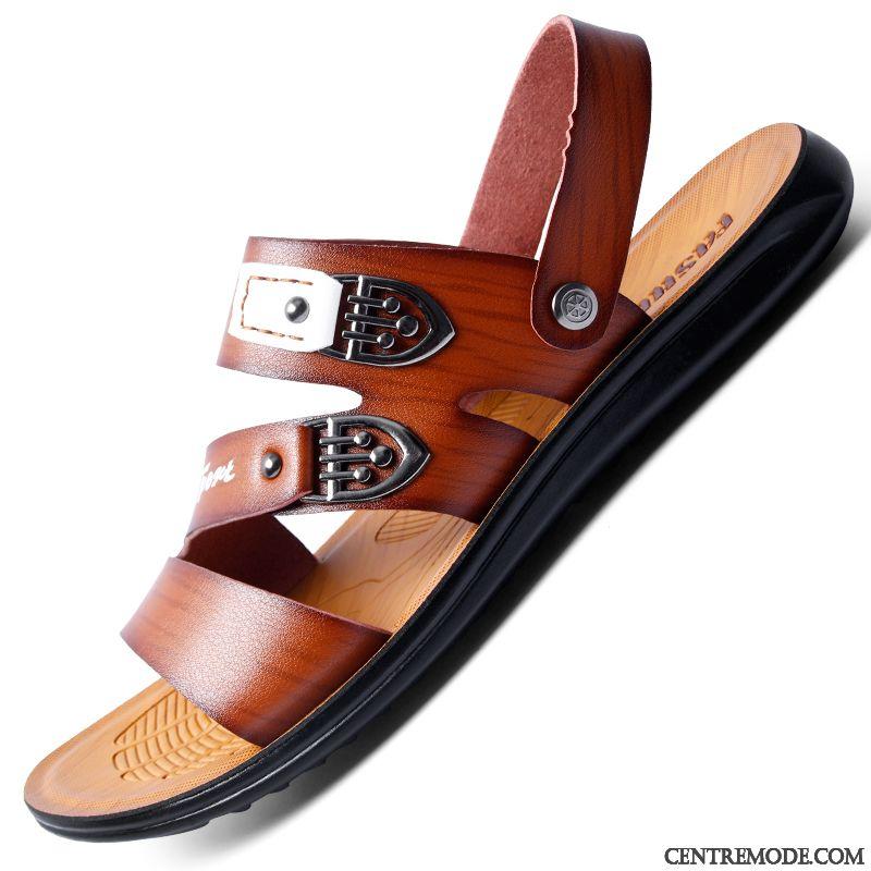 Cuir Noir Pas Vente Chaussure Homme Sandales Sandales Cher Sandales wF6145qT