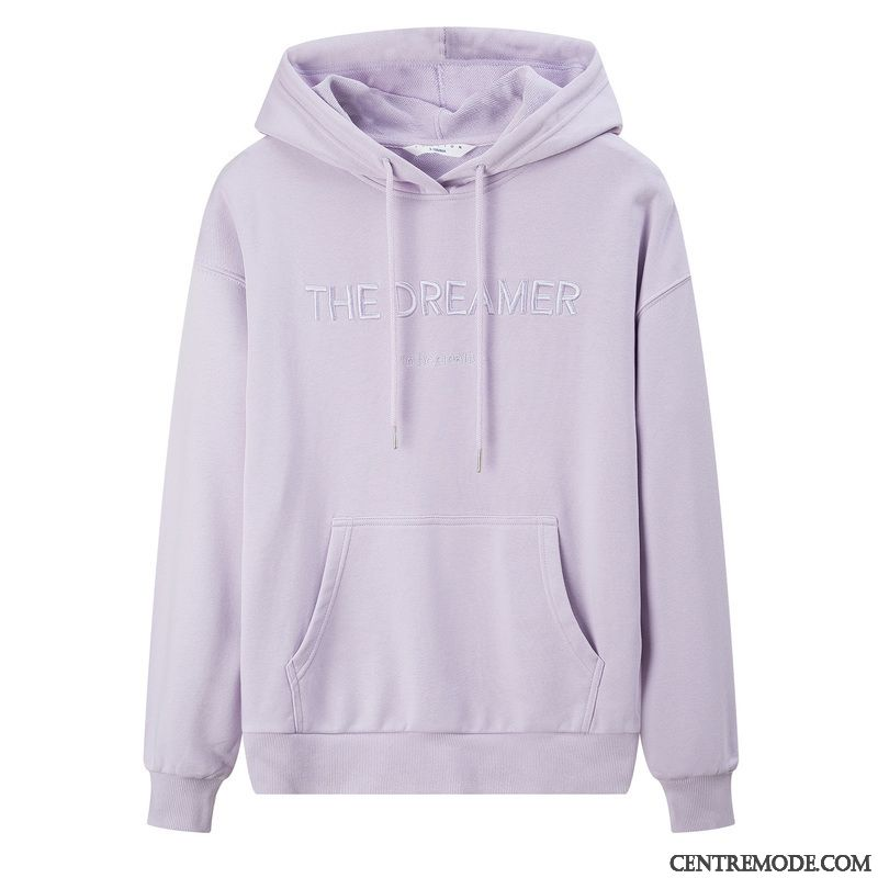 Sweat À Capuche Femme Longues Mince Plus De Velours Hoodies Printemps Baggy Violet