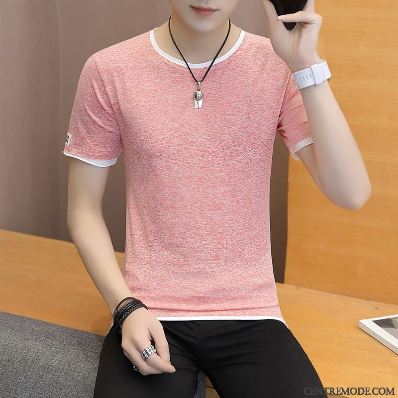 T-shirts Homme Courte Mode Col Rond Tendance Slim Jeunesse Rose