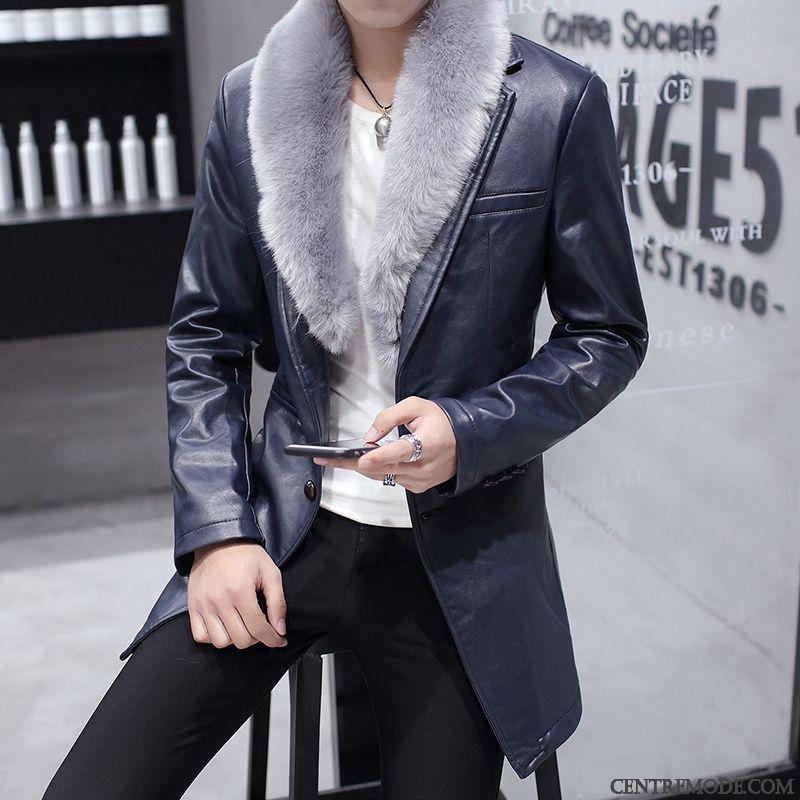 Veste bleu et marron homme