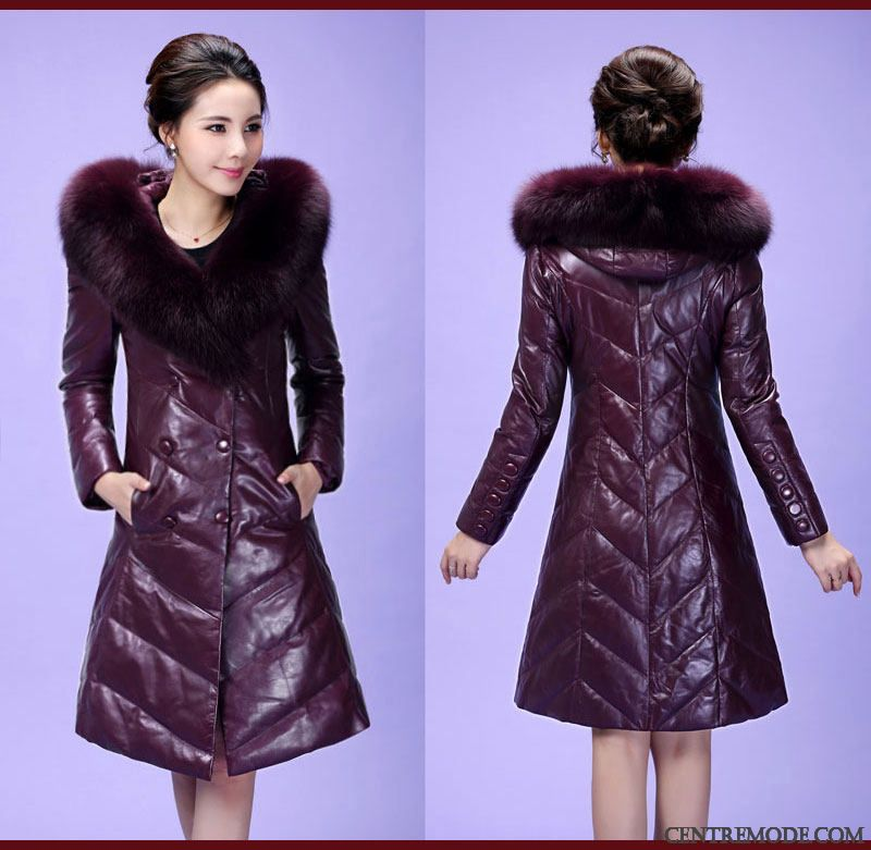 Veste cuir a capuche femme pas cher