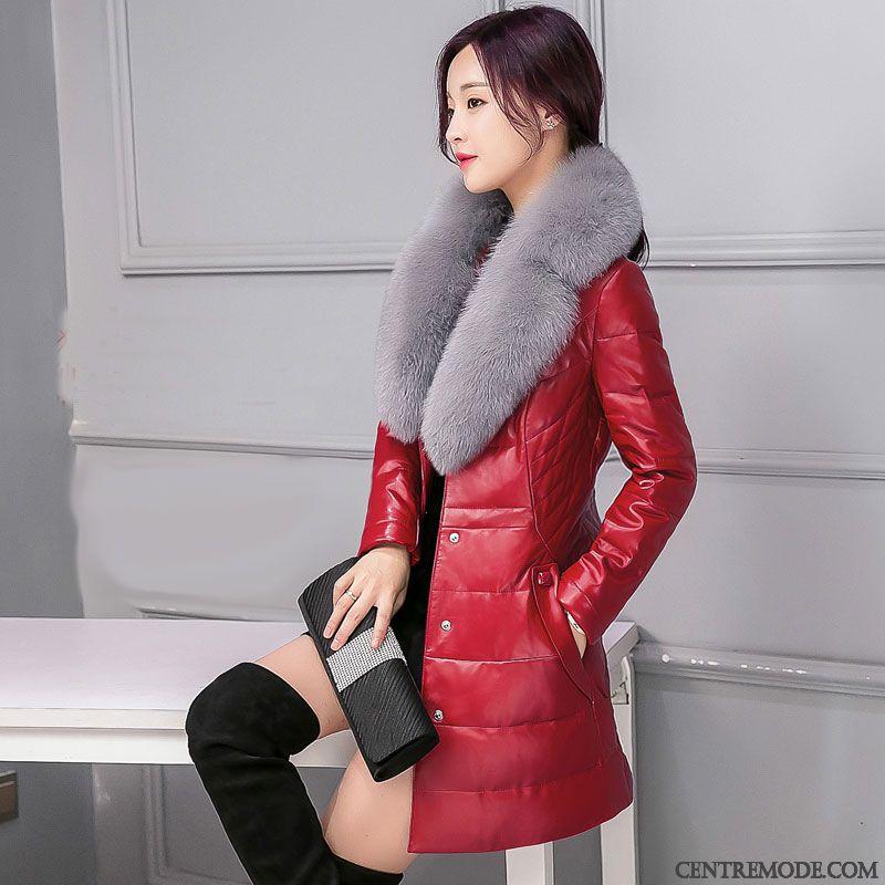 Veste matelassee rouge cuir